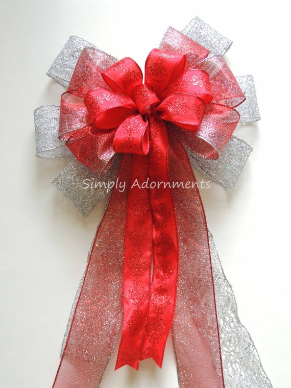 Red Silver Christmas Tree Bow Silver Red Christmas Wreath Bow Tree Topper Bow Glitter Red Silver Christmas Swag Bow Christmas Staircase Bow