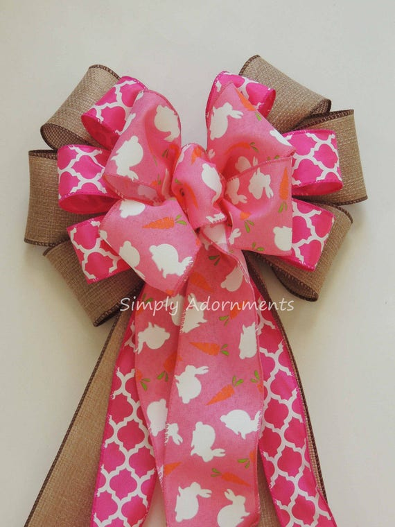 Pink Easter Bunny Wreath Bow Happy Easter Wreath Bow Easter Bunny Door Hanger Decor Pink Easter Party Decor Easter Bunny Basket Gift Bow