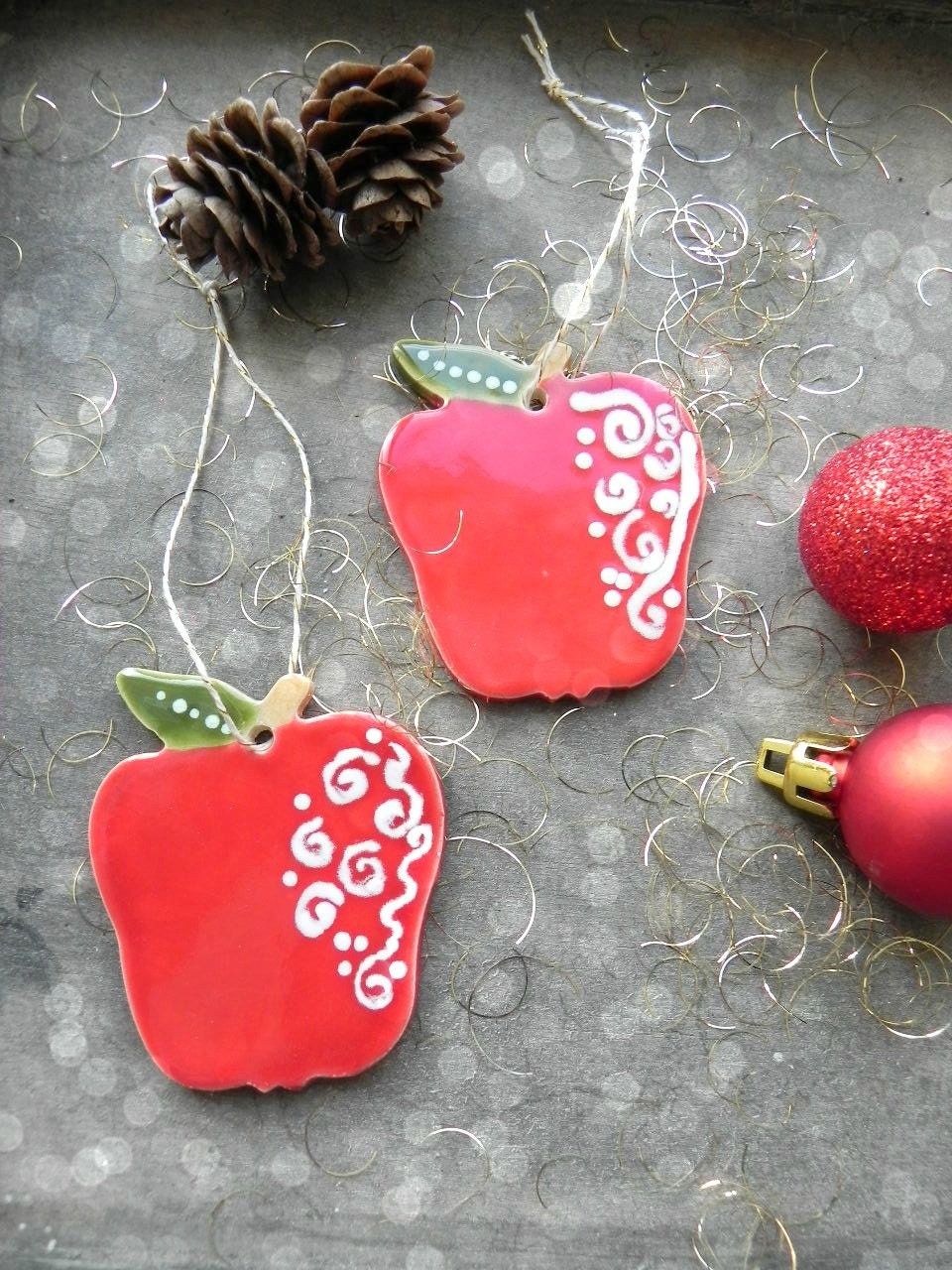 Apple Christmas Ornaments Red Green Ceramic Winter Home