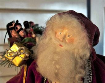 Primitive Father Christmas Santa Claus - Handmade Santa Claus - European Style Santa Claus - Rustic Velvet Santa