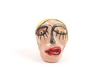 Desk accessories, Crazy face, Ceramic sculpture, desk sculpture, modern ceramics, yellow sculpture, office desk art,desk paperweights