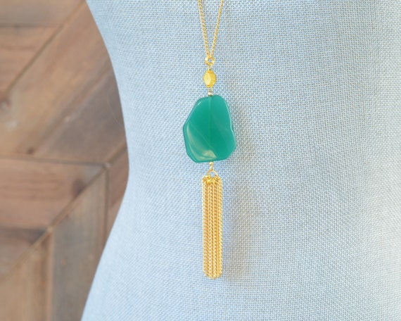 Long Tassel Necklace - Chain Tassel Necklace - Long Fringe Necklace - Stone Tassel Necklace - Emerald Green Necklace - Long Statement
