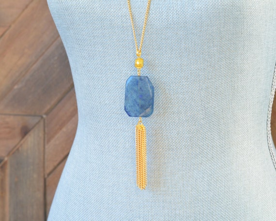 Long Tassel Necklace - Chain Tassel Necklace - Long Fringe Necklace - Stone Tassel Necklace - Dark Blue Navy Blue Necklace - Statement