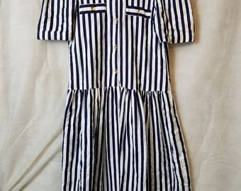 XS S Extra Small Vintage 80s Simi label Navy Blue White Striped Hipster Alternative Sailor Theme Resort Wear Short Sleeve Summer Dress