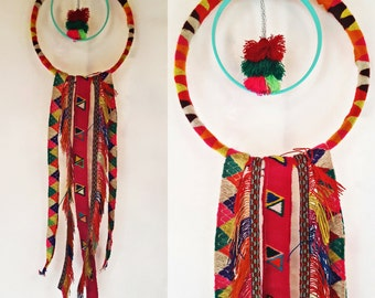 handmade Puyto Wall Hanging- Made with Colorful Handwoven Vintage Quechua Skirt & Poncho Fringe Trim from Peru