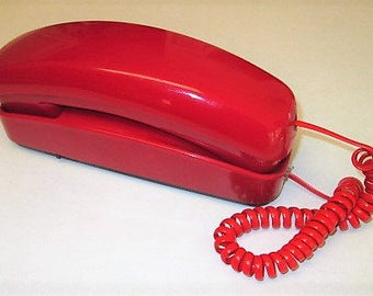 Vintage South Western Bell Red Freedom Phone, Trimline Touch Tone Desk Telephone