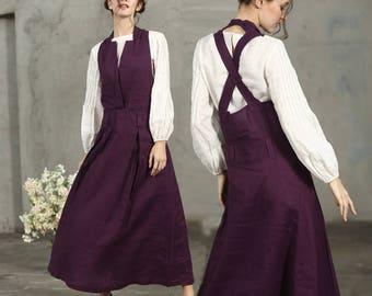 Maxi Linen Dress In Purple, Linen Halter Dress, Linen Pinafore Dress, Linen Apron Dress, Maxi Dress, Long Linen Dress