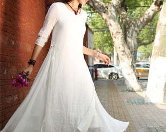 White Layered Cotton Linen Dress , Loose-fitting Long Sleeved Side Pockets Long Maxi Dress Plus-size Clothing