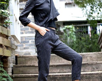 Black Striped Linen Pants (many color option), Women Pants, Fitted Style Trousers,Long Trousers, Linen Pants