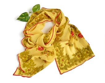 Yellow Floral Scarf Red Flowers, Semi Sheer Long Yellow Green Scarf, Beautiful Drape, Unique Vintage Fashion Accessory