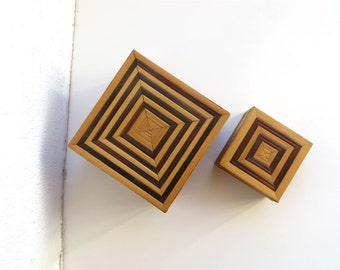 Vintage Box Set, Two Straw Applique Tiny Trinkets Boxes, Awesome Small Boxes Striped Vintage, Vintage 80s