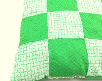 Vintage 60s Bright GREEN Throw Pillow / REVERSIBLE / Handmade Neon Green And White SQUARE Pattern Pillow /