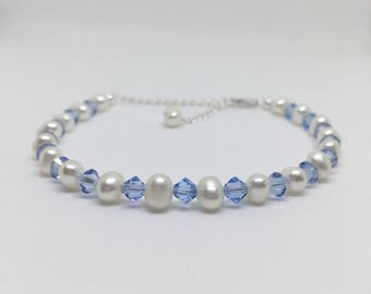 Pearl and Swarovski Bracelet, White Freshwater and Light Sapphire Blue Swarovski Crystals, 925 Sterling Silver, Bridal and Wedding Bracelet