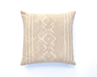 Beige Boho Pillow Cover 18 x 18 | Tribal Nursery Boho Nursery Neutral Pillow Tribal Pillow Tribal Bedroom Decor Tan Pillow Tribal Pattern
