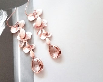 Rose Gold Earrings, Peach Champagne Earrings, Orchid Earrings, Flower earrings, Wedding, Mother, Sister, Wife, Bridesmaid Gift