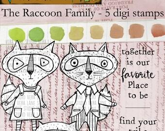 The Raccoon - 5 digi stamp set