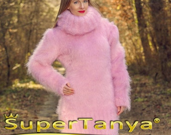 SuperTanya hand knitted mohair sweater dress in pink with extra long turtleneck MADE TO ORDER