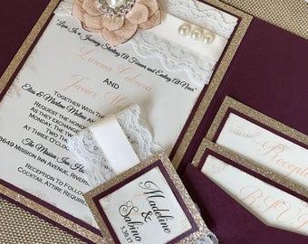 Plum and rose gold Vintage Wedding Invitation Suite - lace invitations - plum wedding - sweet sixteen invitations - quinceanera invitations