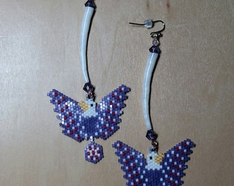 Native American Made Seed Beaded Eagle Earrings With Dentalium Shells/Dentalium Earrings/Purple Earrings/Eagle Earrings