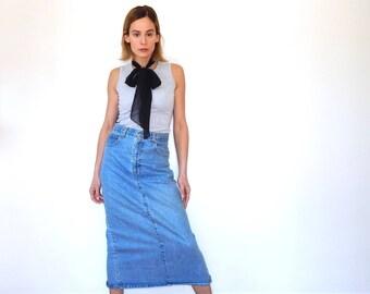 denim maxi skirt 80s vintage long denim skirt high waisted denim skirt light wash denim skirt jean skirt country western midi tea length S/M