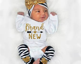 Newborn Girl Coming Home Outfit, Baby Girl Shower Gift, New Baby Gift, Brand New Baby, Leg Warmer Headband Option Black Gold