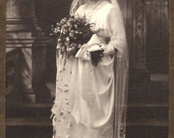 Photo of Woman Bride Circa 1920 Wedding Dress Gown