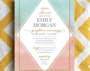 Watercolor bridal shower invitation, diamond shape shower invite, pale pink and mint shower invite, modern watercolor invite, bridal shower