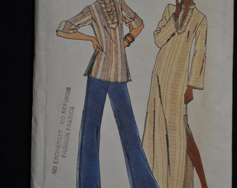 Vintage 1960's Caftan & Top  Pattern - Butterick #3624 - Size Medium (12-14) - Fast and Easy