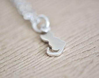 Cat Necklace - Cat Jewelry - Cat Pendant - Sterling Silver cat necklace - Tiny Cat Necklace - Gift For Women