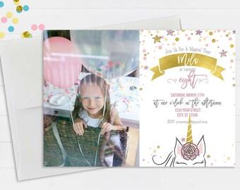 Unicorn Birthday Invitation with Photo // First Birthday Invitation // Magical Birthday Invitation // Photo Birthday Party Invitation