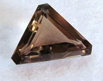 Smokey Quartz Modified Triangle Faceted Gemstone ~ 24 X 17 mm Custom Cut Genuine Smoky Quartz - 18.82 carats