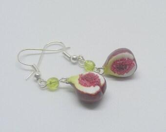 Food Jewelry, Fig Earrings, Fig Drop, Fig Charm, Miniature Food Jewellery, Fig Jewelry, Mini Food, Polymer Clay Food, Fruit Charm, Vegan