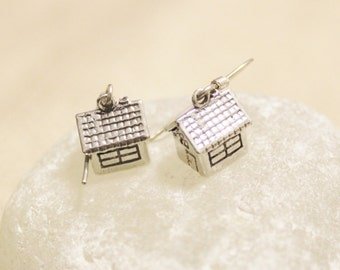 Sterling Silver House Charm Earrings, Unique Jewelry, House Jewelry, Gifts Under 25