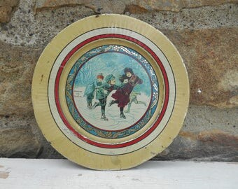 Antique Christmas Tin Metal Litho Plate Small Dish Holiday Christmas Decor Children Ice Skating Made in USA