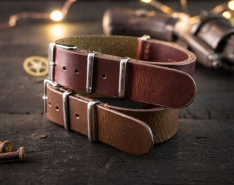 20mm Dark Chocolate Brown or Dark English Red genuie leather nato strap, vintage style strap, watch strap, watch band, leather strap