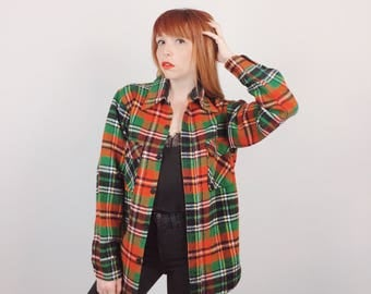 70's Towncraft Plaid Flannel Overshirt Button Up Top // Women's size XS Small S