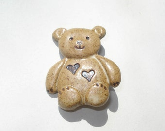 Vintage Bear Booch - Pottery Teddy Pin with Hearts - Retro Jewelry Brooch - 1980s