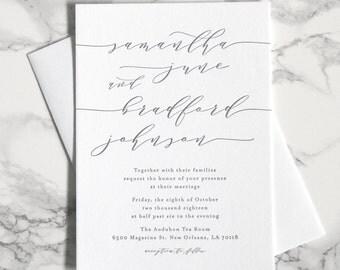 LETTERPRESS SAMPLE | Samantha Wedding Invitation | Minimalist Invitation | Simple Invitation | Black and white invitation | Clean Invitation