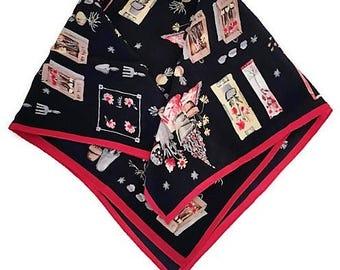 Vintage Talbot Silk Scarf Garden Theme Navy Red Small Kerchief