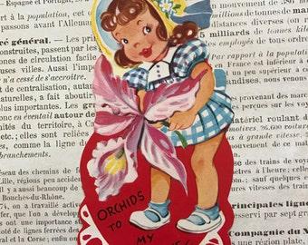 Vintage Valentine / Valentine Sweet Girl & Orchid Flower Die Cut Signed Valentine 1950's