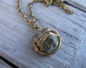 Raw Crystal Necklace in Brass / Blue Stone in Gold Wire and Brass Chain / Gift for Her
