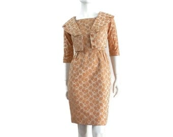 1950's Dress and Jacket Set Pine Cone Brocade Cropped Jacket with Matching Wiggle Dress Ladies sz Small