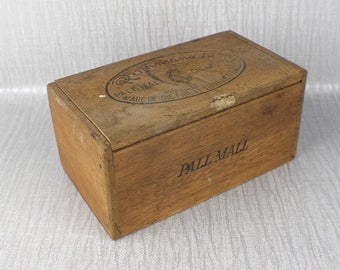 Rustic Wooden Rothmans Ltd Pall Mall Cigarettes Box Tan Brown Wood Hinged Box