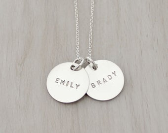Personalized Mothers Necklace - Hand Stamped Name Necklace - Two Sterling Silver Name Charms