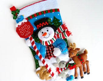 Christmas Stocking Finished Bucilla Stocking Personalized Felt Stocking Family Stocking Childs Stocking Snowman Deer Santa Stop Here Gift