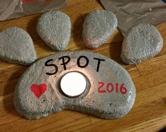 Candle Holder, Pet Grave Stone, Dog Memorial, Paw Print Stepping Stone, Pet Memorial, Paw Print