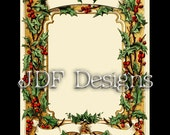 Instant Digital Download, Antique Victorian Graphic, Christmas Holly Frame, Scroll Banner, Text Box, Place Card Printable Image, Scrapbook