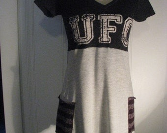 Sporty upcycled small medium tunic top dress UFC  ooak hand made  one of a kind unique MMA top by Upcycled Swag