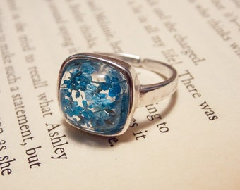 Blue and Silver Flower Ring