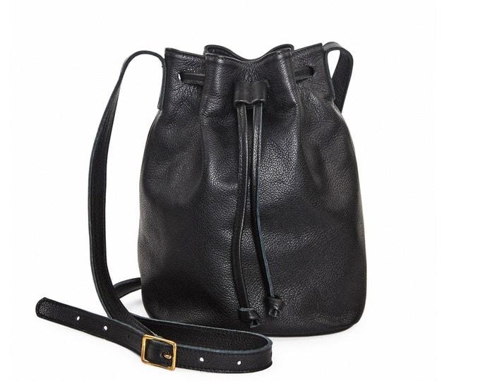 Black crossbody bag, leather bucket bag, leather drawstring bag